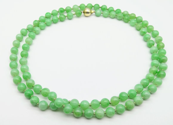 Jade Beads Gilt Clasp 7.5mm 34inch
