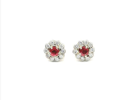 18ct  Ruby & Diamond Studs