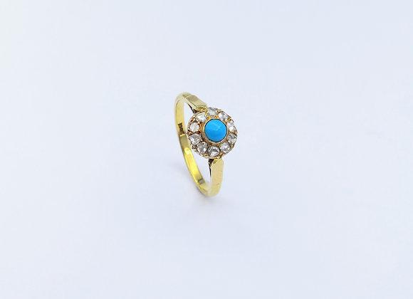 18ct Round Turquoise & Diamond Cluster Ring