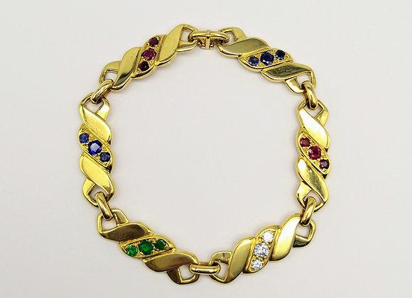 18ct Ruby Sapphire Emerald Diamond Bracelet