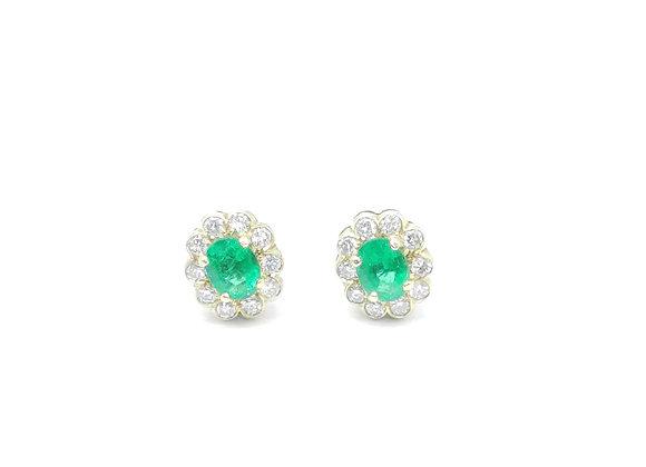 18ct Oval Emerald Diamond Studs