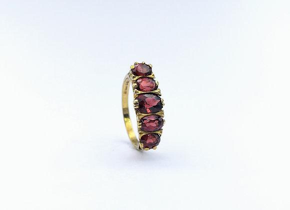 9ct 5 Stone Oval Garnet Carved Half Hoop Ring