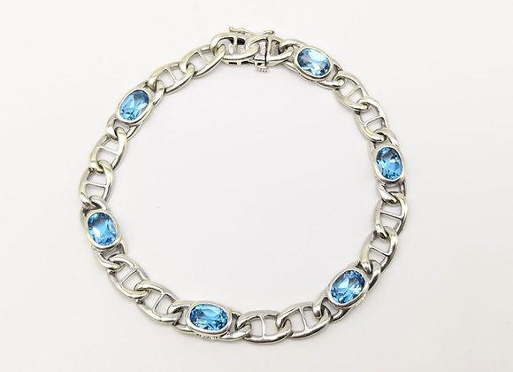 9ct Blue Topaz Link Bracelet