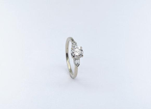 Platinum Brilliant & Baguette 3 Stone Diamond Ring