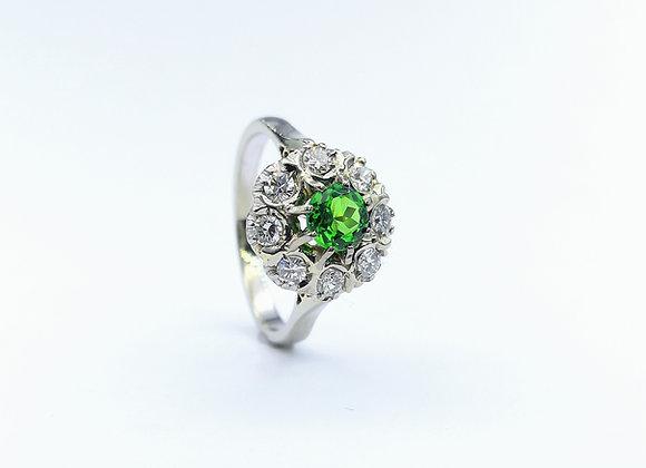 18ct  Demantoid Garnet & Diamond Cluster Ring