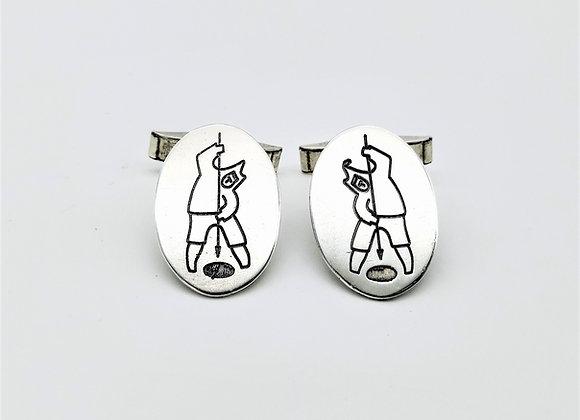 Silver Inuit Fishing Cufflinks