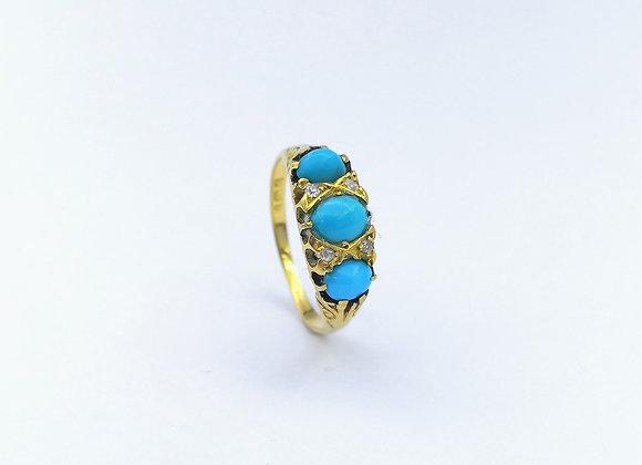 18ct 3 Turquoise & Diamond Ring