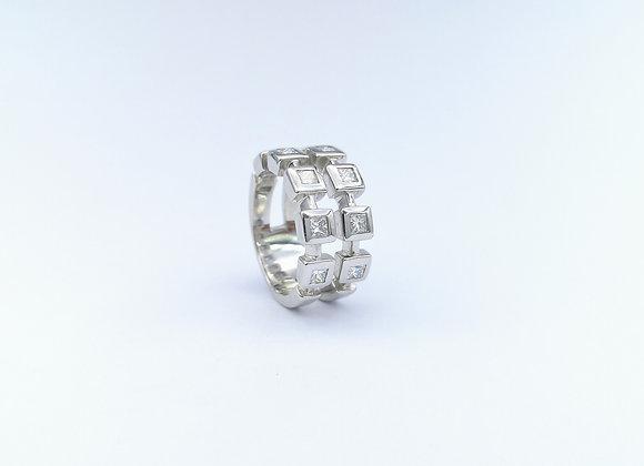 18ct Diamond 2 Row Square Design Ring