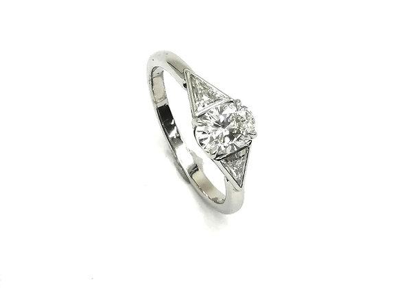Platinum Trillion & Oval Diamond Ring