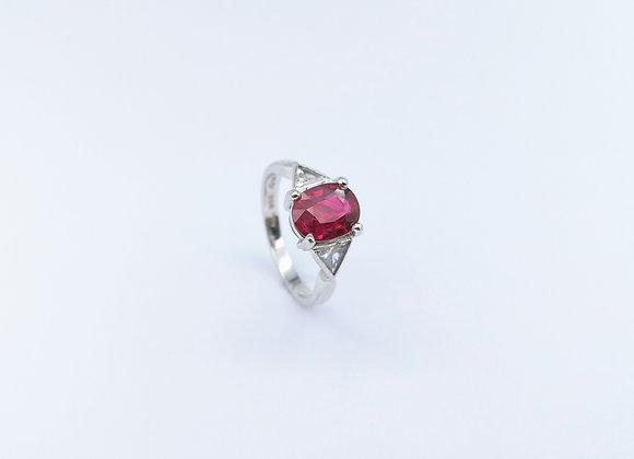 Platinum Ruby & Trillion Diamond 3 Stone Ring