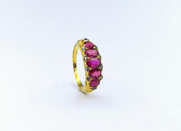 Victorian 15ct Ruby & Diamond 5 Stone Ring