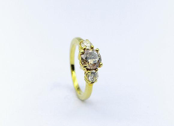 18ct Cognac & White Diamond 3 Stone Ring