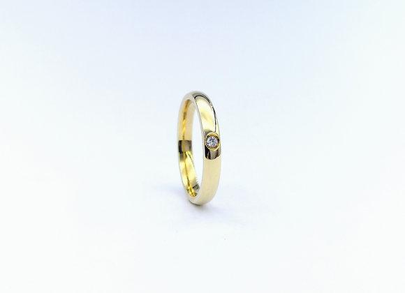 9ct Single Diamond Gypsy Set Ring