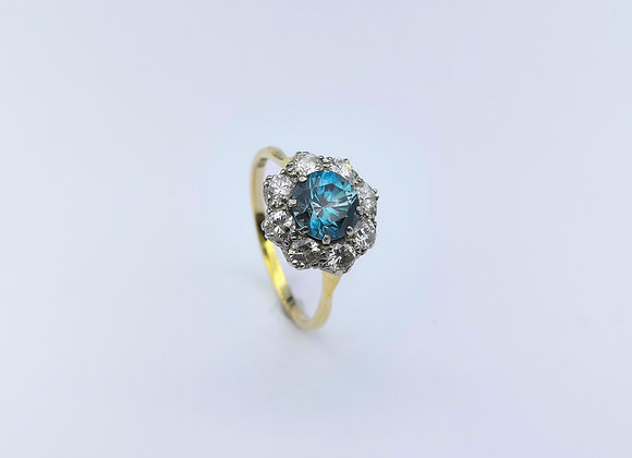 18ct Blue Zircon & Diamond Cluster Ring