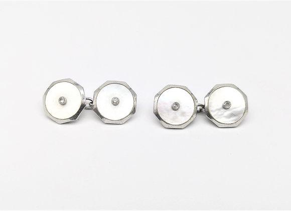 White Gold Diamond Set Octagonal Cufflinks