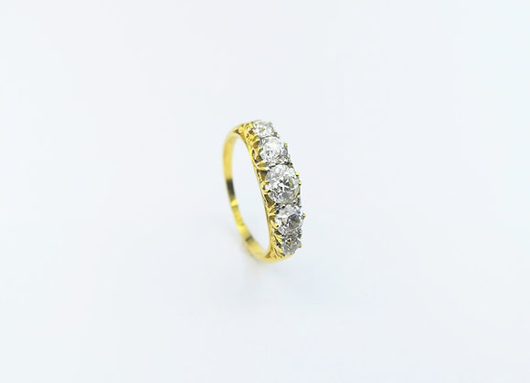 18ct  5 Stone Old Cut Diamond Ring