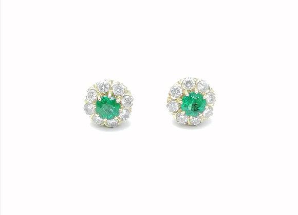 18ct Emerald & Diamond Round Studs