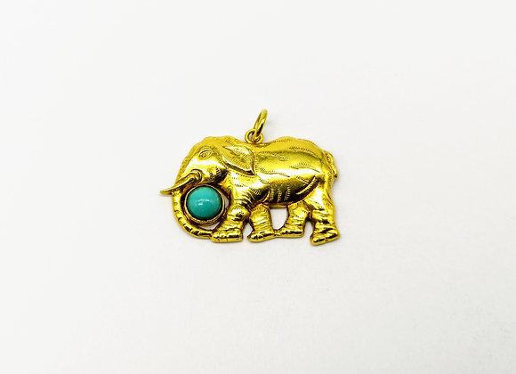 14kt Turquoise Elephant Charm
