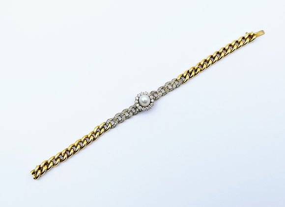 18ct Victorian Natural Pearl & Diamond Bracelet