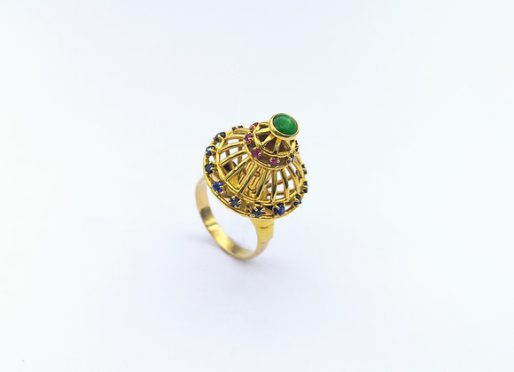18ct Jade, Sapphire, Ruby Cage Ring