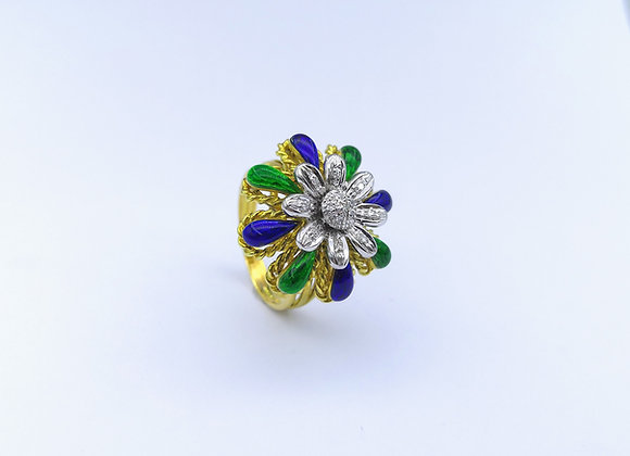 18ct Enamel & Diamond Flower Head Ring