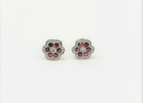 Ruby Diamond Cluster Studs