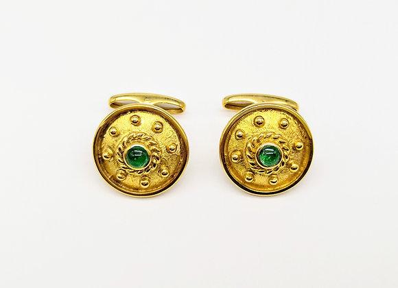 Yellow Gold & Emerald Circular Cufflinks