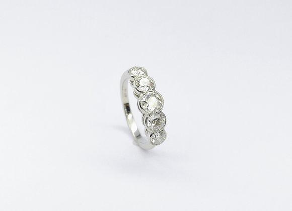 Platinum 5 Stone Brilliant Diamond Millegrain Ring