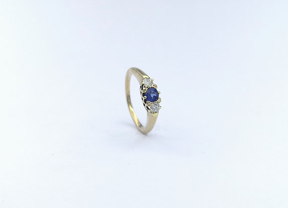 Yellow Gold Sapphire & Diamond Ring 1950