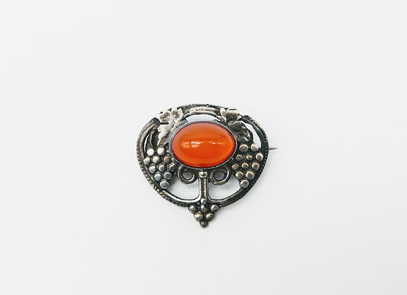 Silver Arts & Crafts Cornelian brooch