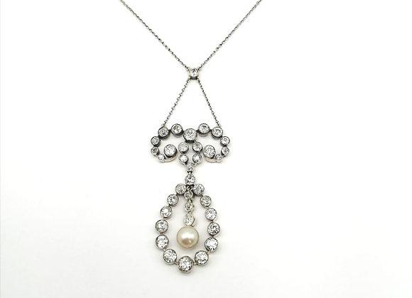 Edwardian Diamond & Pearl Pendant