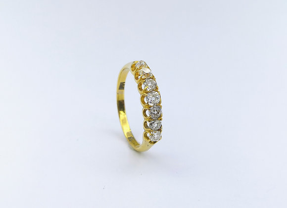 18ct  7 Stone Old Cut Diamond Ring