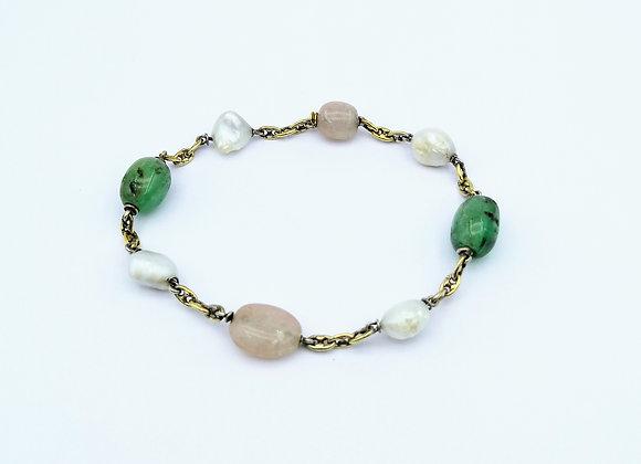 Gold, Emerald, Pearl & Pink Quartz Bracelet