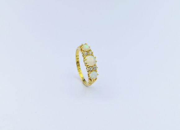 18ct 3 Round Opals & Diamond Ring