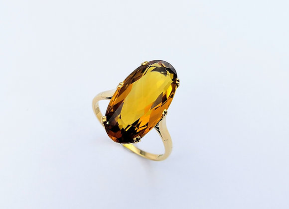 14ct Oval Citrine 6 Claw Ring