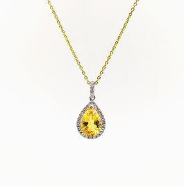 18ct Pear Citrine & Diamond Cluster Pend