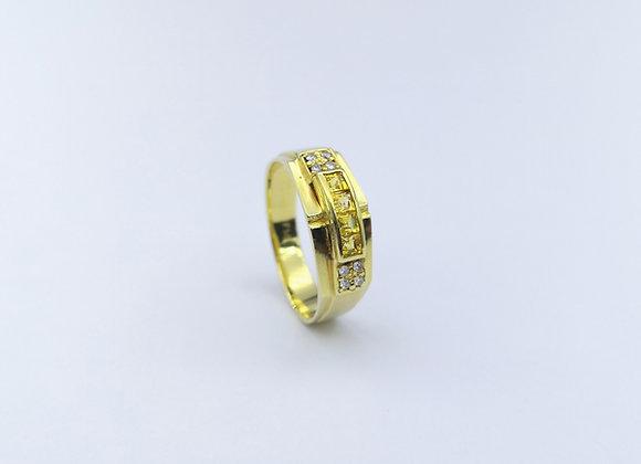 18ct Square Citrine & Brilliant Cut Diamond Ring