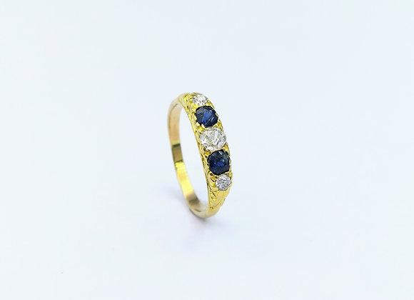 Victorian 18ct Sapphire & Diamond Ring