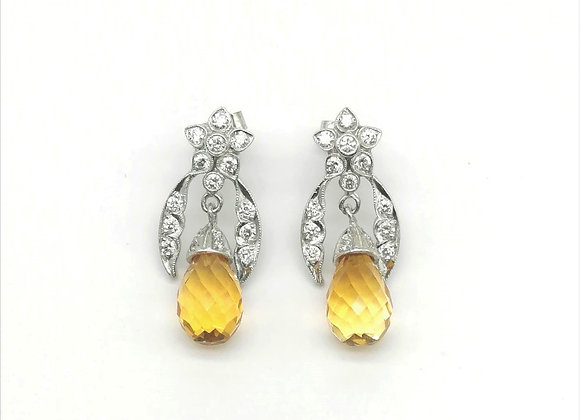 18ct Citrine & Diamond Earrings