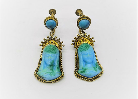 Egyptian Revival Glass Earrings