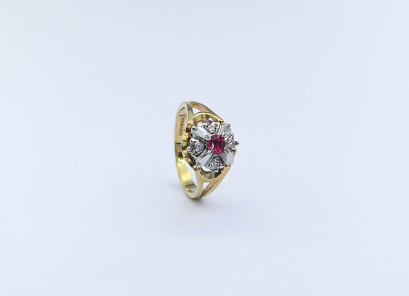 9ct Ruby Diamond Cluster Ring
