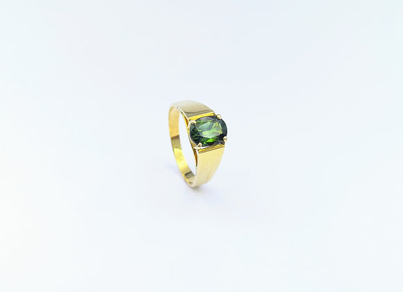 18ct Single Green Oval Tourmaline ring
