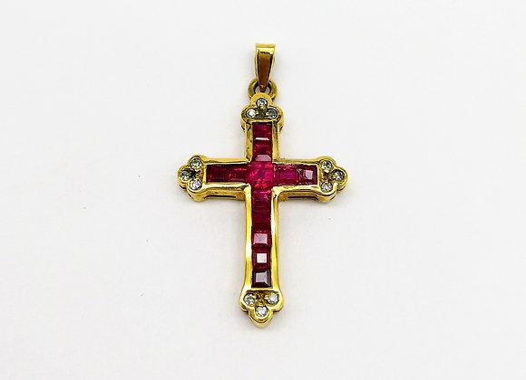 9ct Ruby Diamond Cross