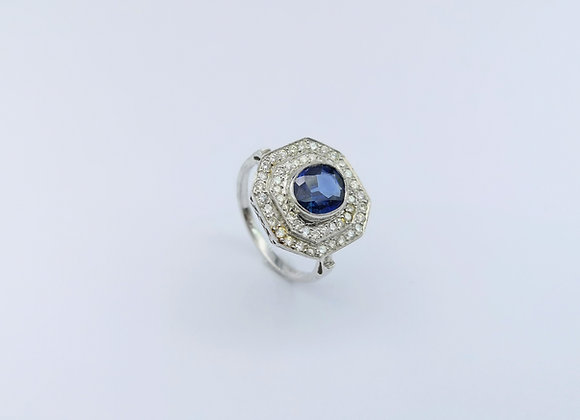 18ct  Oval Sapphire & Diamond Dress Ring