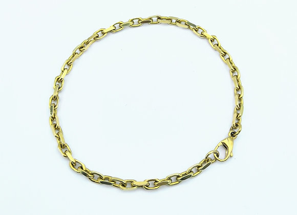A 9ct Yellow Gold Oval Link Chain Bracelet
