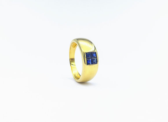 18ct 4 Square Sapphire Ring, French