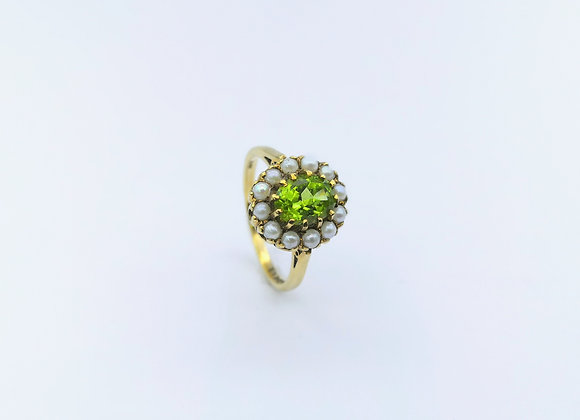 9ct Oval Peridot Pearl Cluster Ring