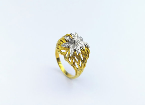 18ct Diamond Bombe Textured Ring