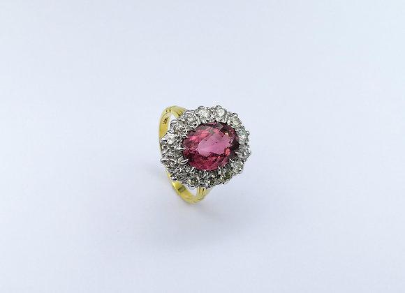 18ct Pink Tourmaline & Diamond Cluster Ring