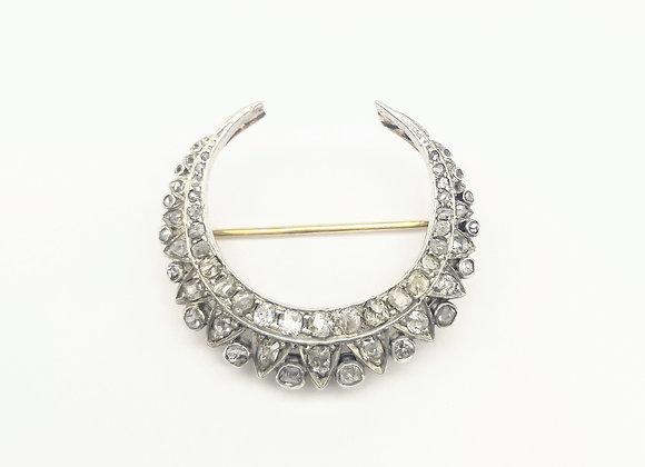 Victorian Silver & Gold  Crescent Diamond Brooch